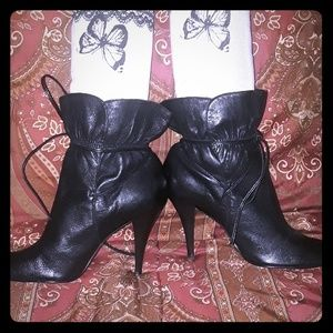 Calvin Klein Leather Ankle Tie Strap Heel Booties